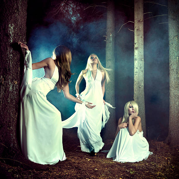 Three nymphs in the forest stock photo