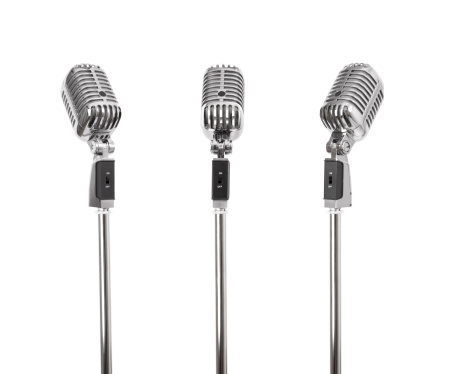 Three Classic retro style microphones, photographed from different angles, each with a independent clipping path.