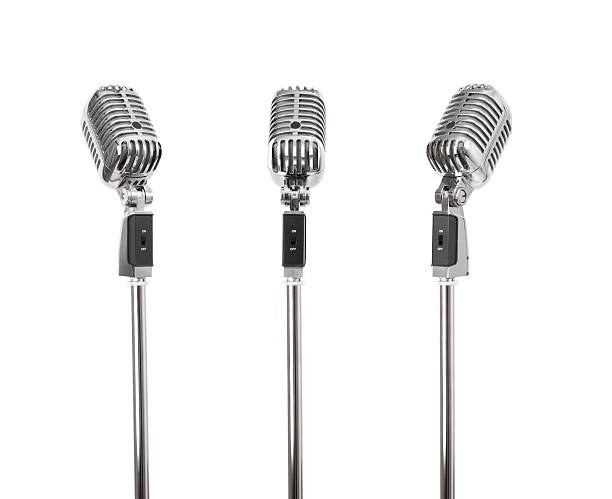 Three of a kind - Retro Microphones (+clipping paths, XXL) Three Classic retro style microphones, photographed from different angles, each with a independent clipping path. microphone stock pictures, royalty-free photos & images
