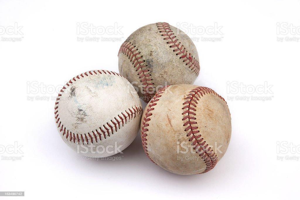 Three Old Baseballs royalty-free stock photo
