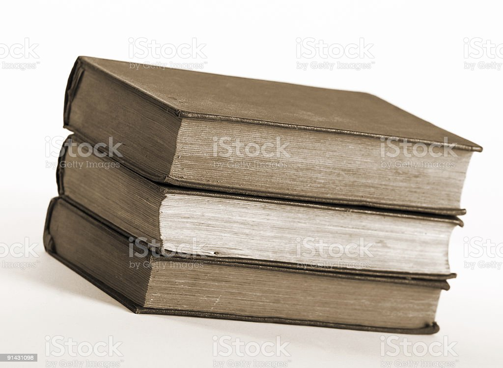 Three old book in pile royalty-free stock photo