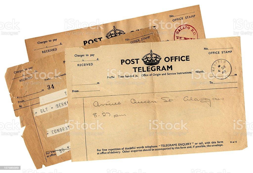 Three old British telegrams stock photo