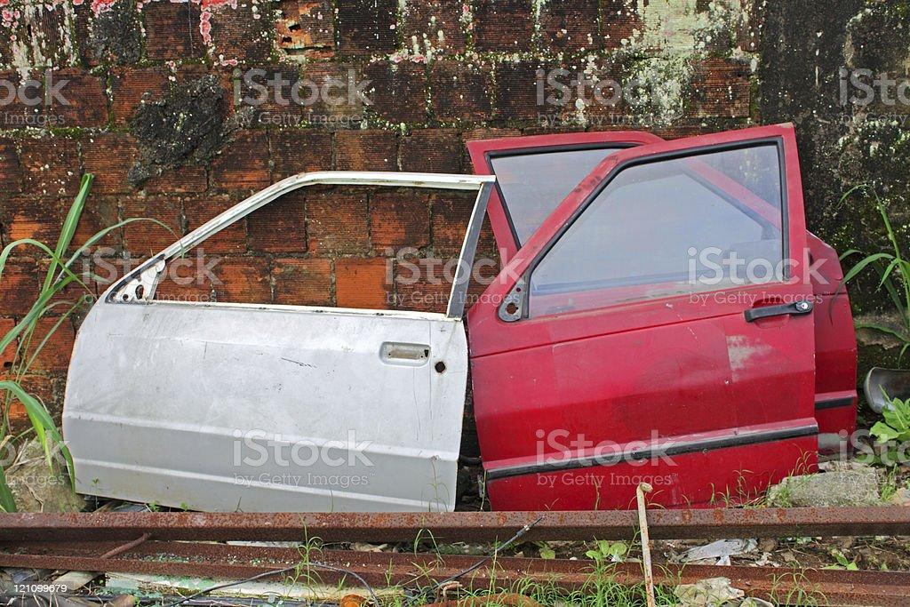 Three old car doors royalty-free stock photo