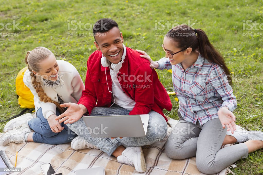 Three old friends enjoying their meetings royalty-free stock photo