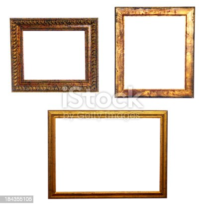 istock Three Old Golden Frames Isolated 184355105