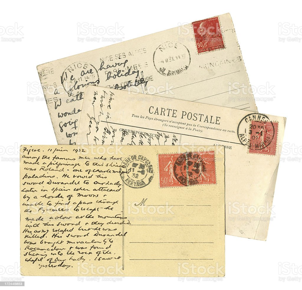 Three old postcards from France royalty-free stock photo