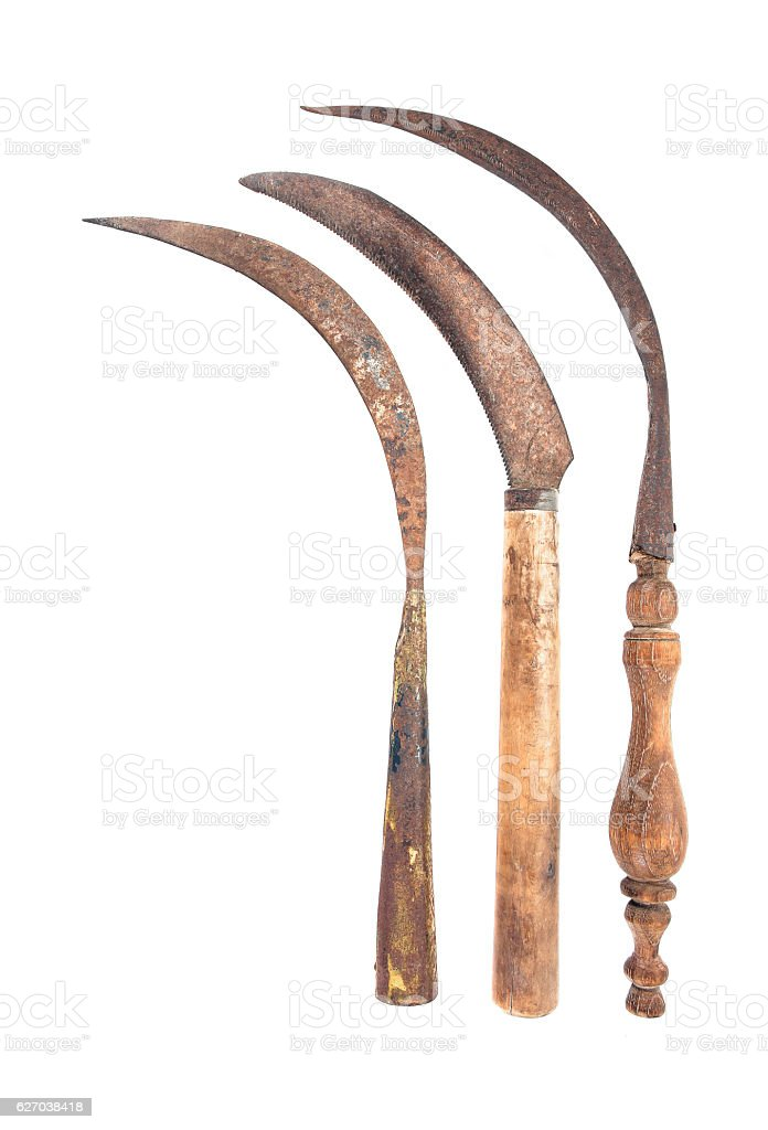 Three old rusty sickle isolated on white background.Old vintage sickle stock photo