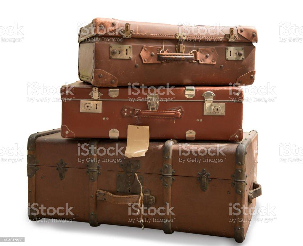 drei alte Koffer isoliert auf weißem Hintergrund Lizenzfreies stock-foto