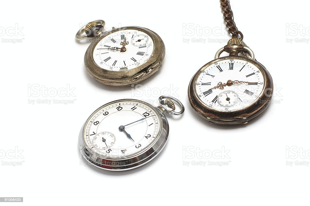Three old watches isolated on white stock photo