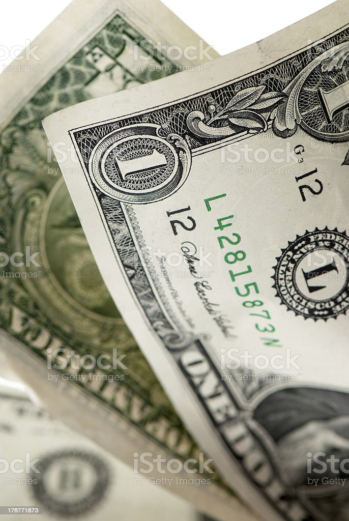 Three One Dollar Bills Front and back of the bills royalty-free stock photo