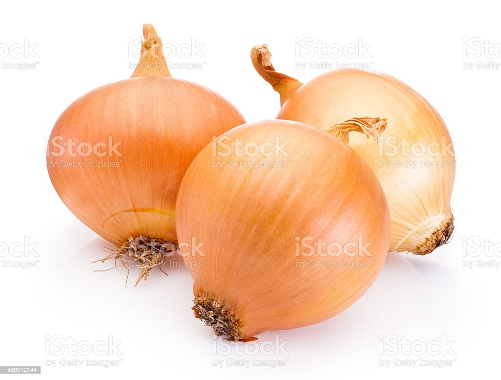 Three onion bulbs isolated on white background stock photo