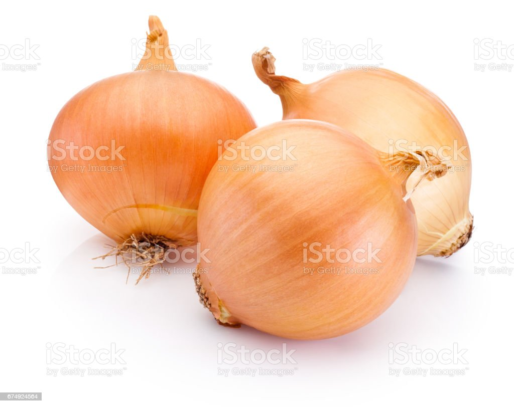 Three onion bulbs isolated on white background royalty-free stock photo