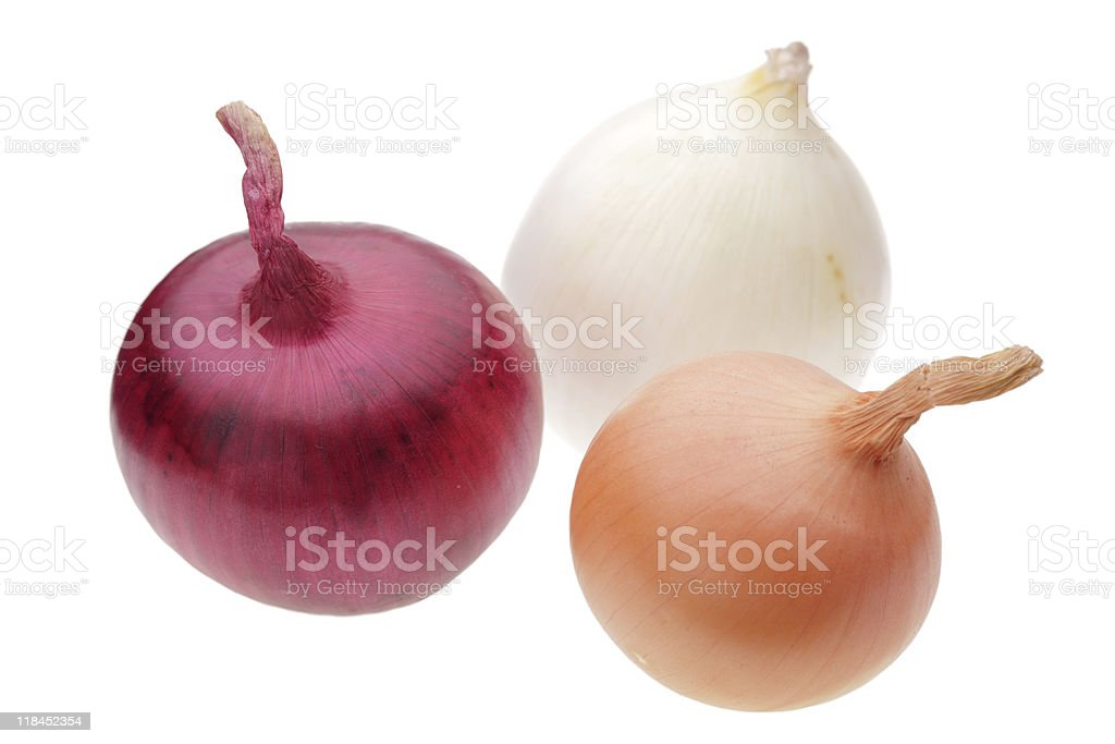 three onion bulbs stock photo