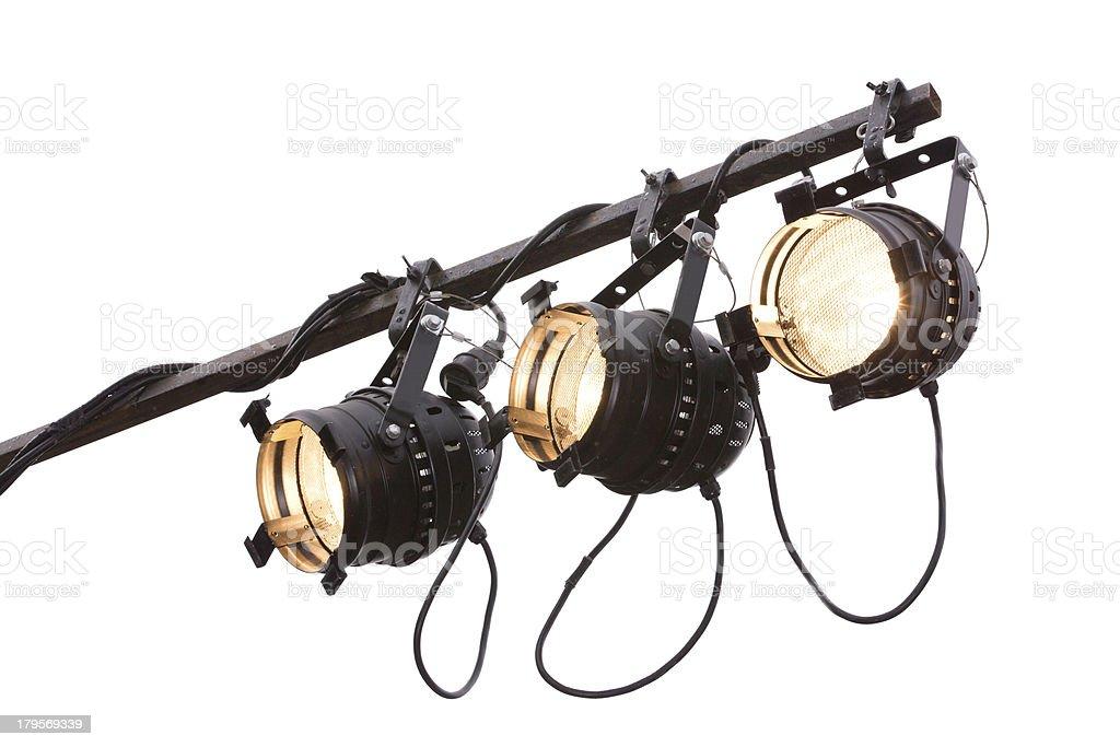 Three onstage spotlights on white royalty-free stock photo