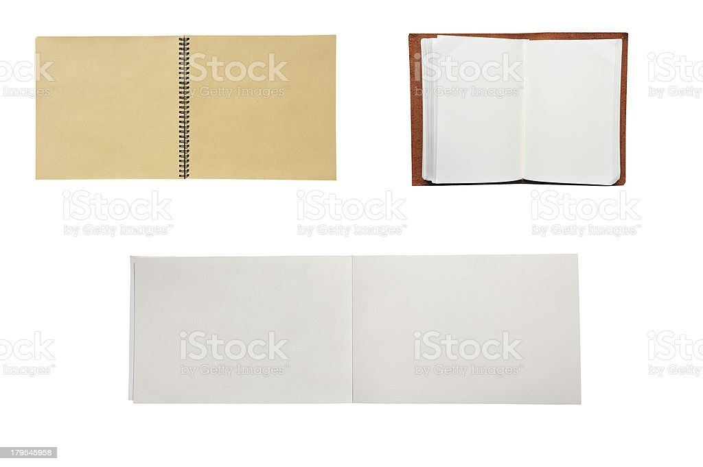 Three open blank books royalty-free stock photo