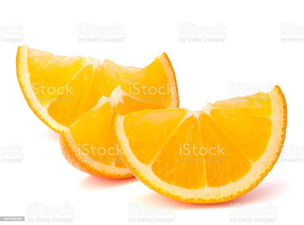 Three orange fruit segments or cantles stock photo