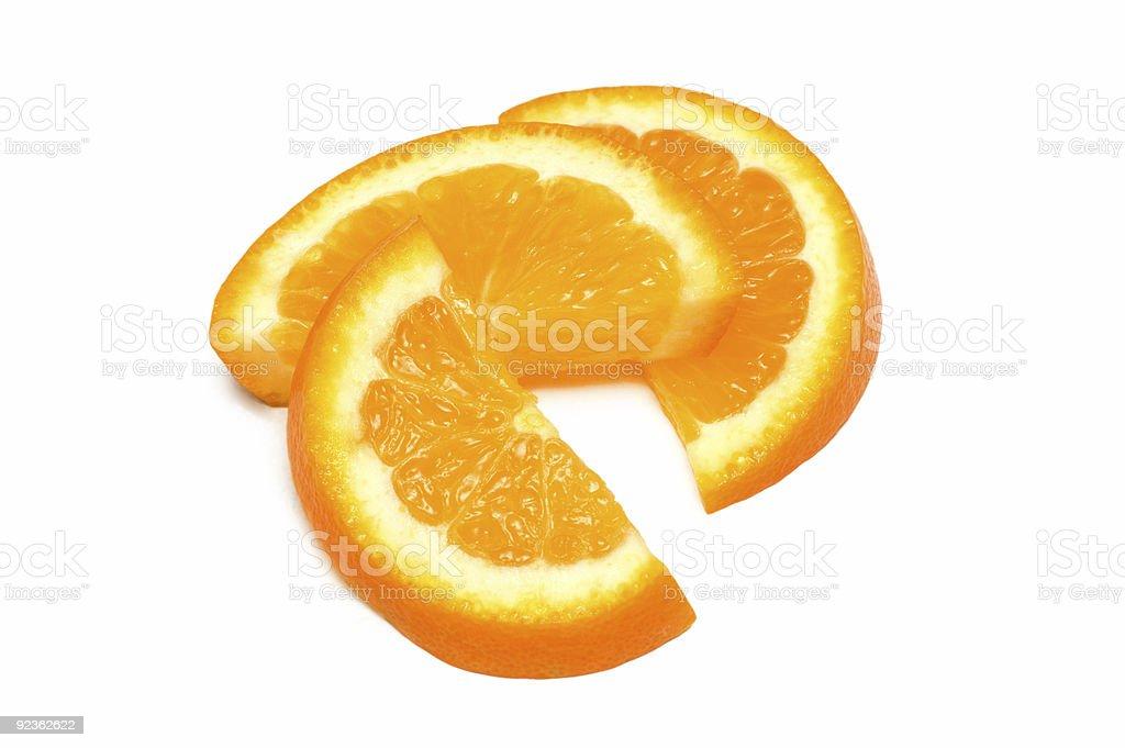 Three orange slices isolated on the white royalty-free stock photo