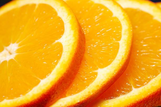 Three orange slices stock photo