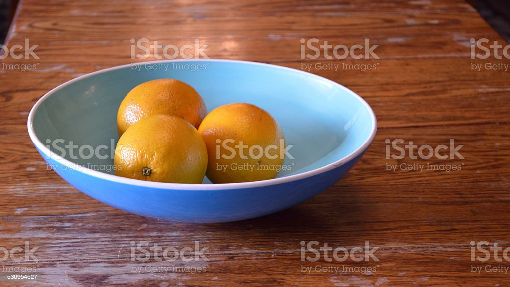 Three Oranges in Bowl, panorama size stock photo