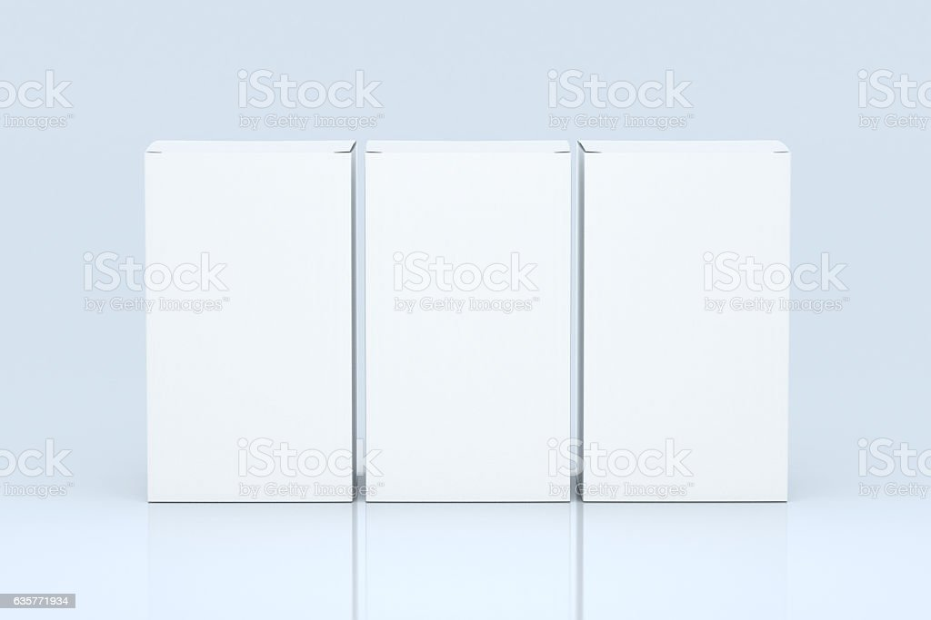 Three packagings stock photo