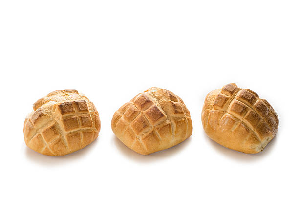 Three pagnotte three fresh italian loaves isolated on white  round loaf stock pictures, royalty-free photos & images
