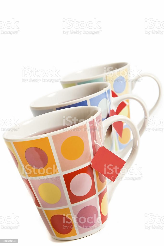 Three painted cups royalty-free stock photo