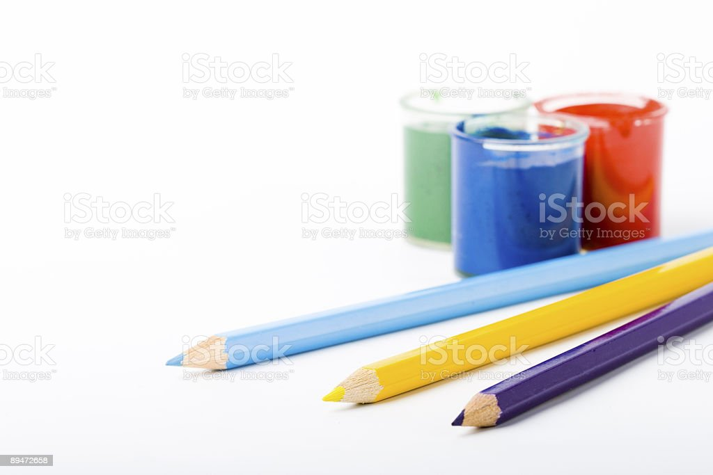 three paints and pencils royalty-free stock photo