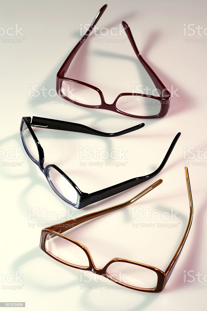 Three pairs of glasses royalty-free stock photo