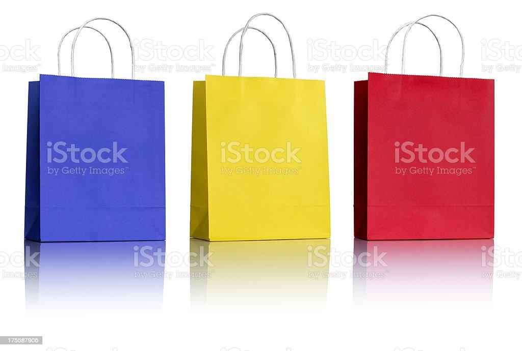 Three Paper Shopping Bags on white stock photo