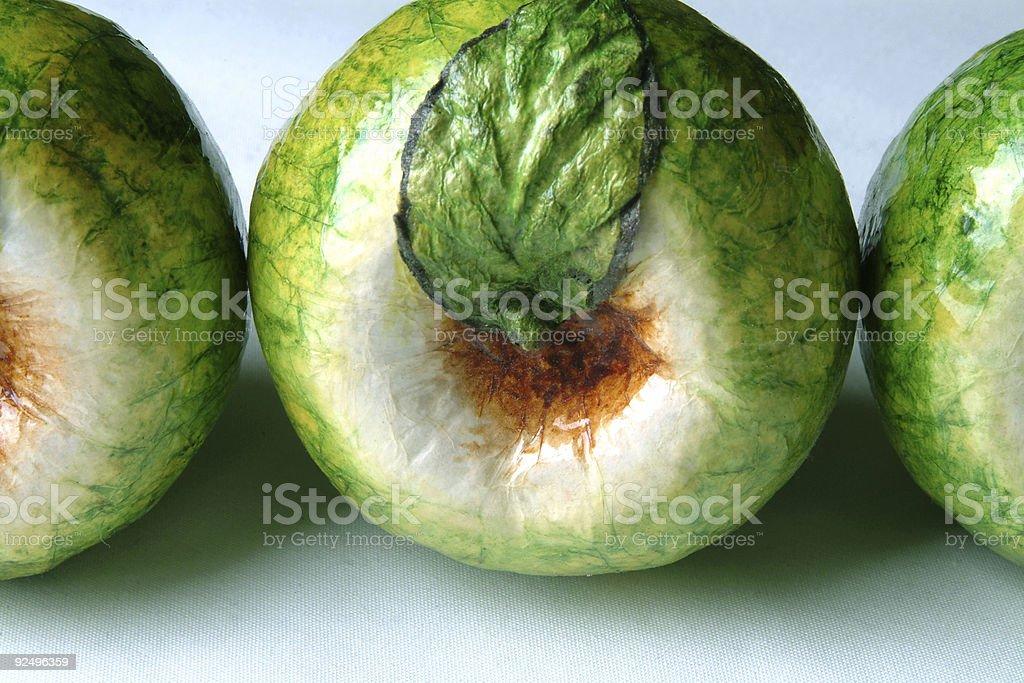Three Papier Mache Apples royalty-free stock photo