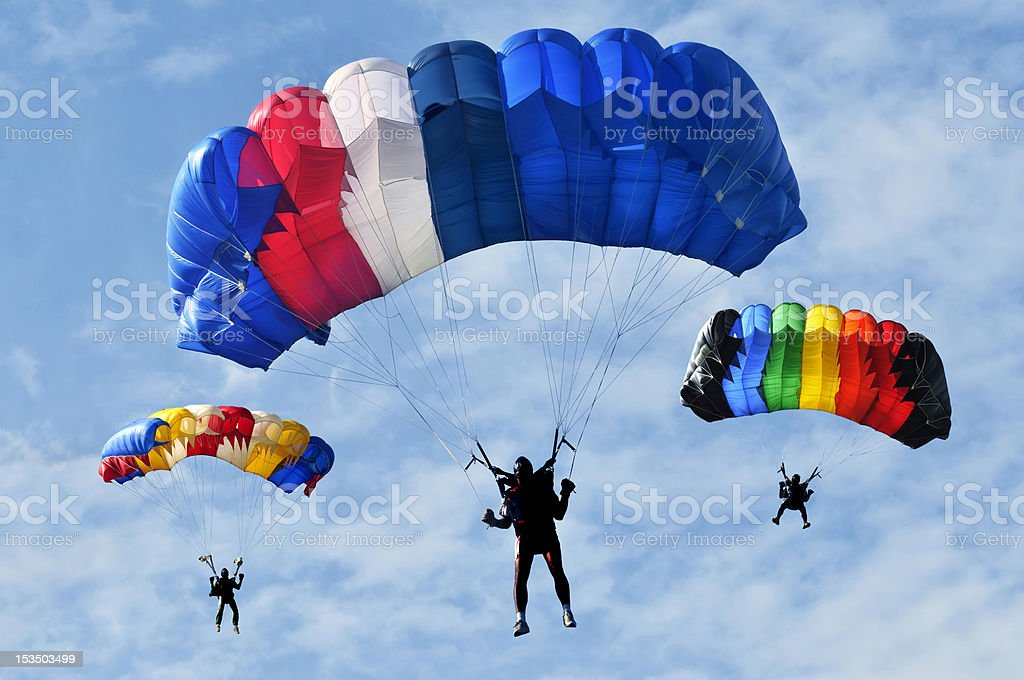 Three parachutes stock photo