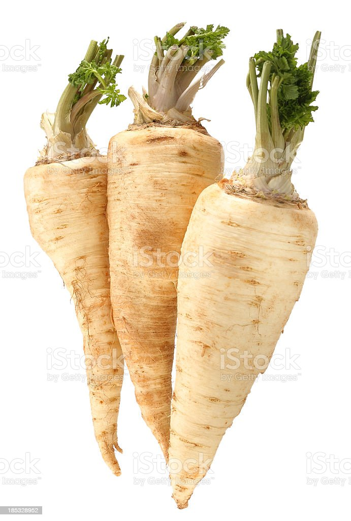 Three parsnips in front of white background stock photo