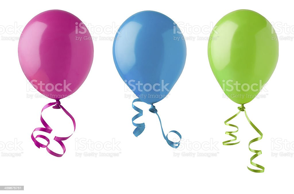 Three Party Balloons Isolated on White stock photo