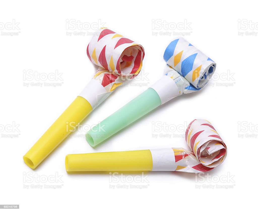 Three party Horn blowers on white background royalty-free stock photo
