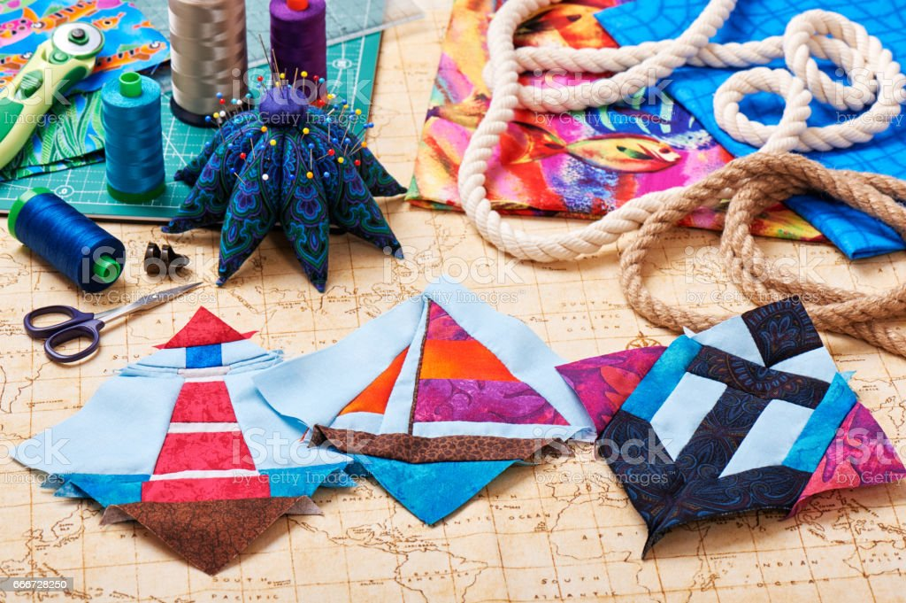 Three Patchwork Blocks Lighthouse Yacht And Anchor Fabrics ... : quilting tools and accessories - Adamdwight.com