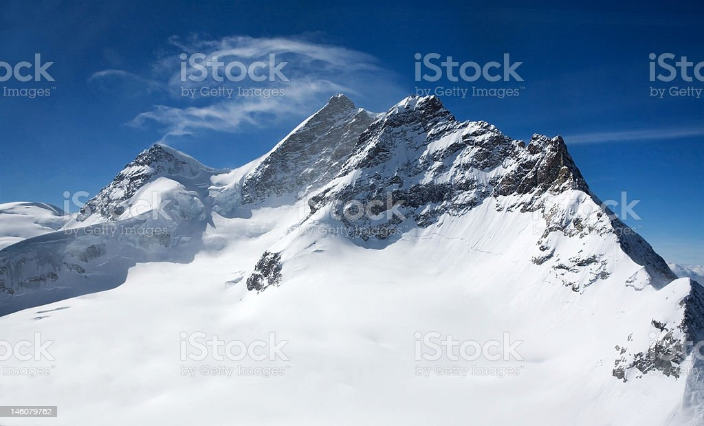 Three peaks in Swiss Alps royalty-free stock photo