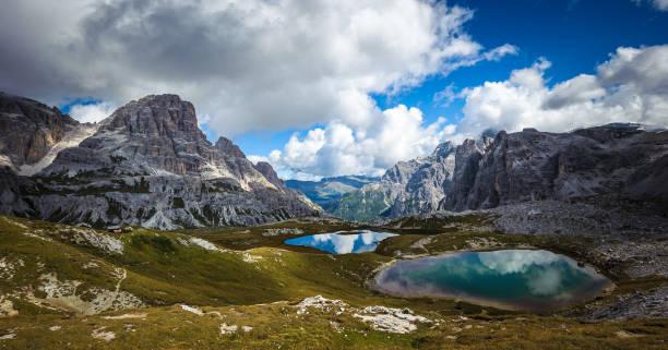 Three peaks. National Park Tre Cime di Lavaredo. Dolomites, South Tyrol, Italy stock photo