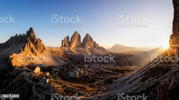 Photo of Three Peaks of Lavaredo at Sunset, Dreizinnenhütte - Refuge Antonio Locatelli