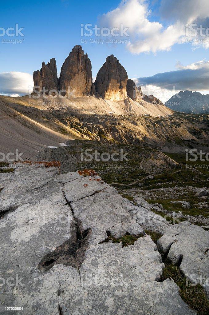 Three Peaks of the Dolomites royalty-free stock photo