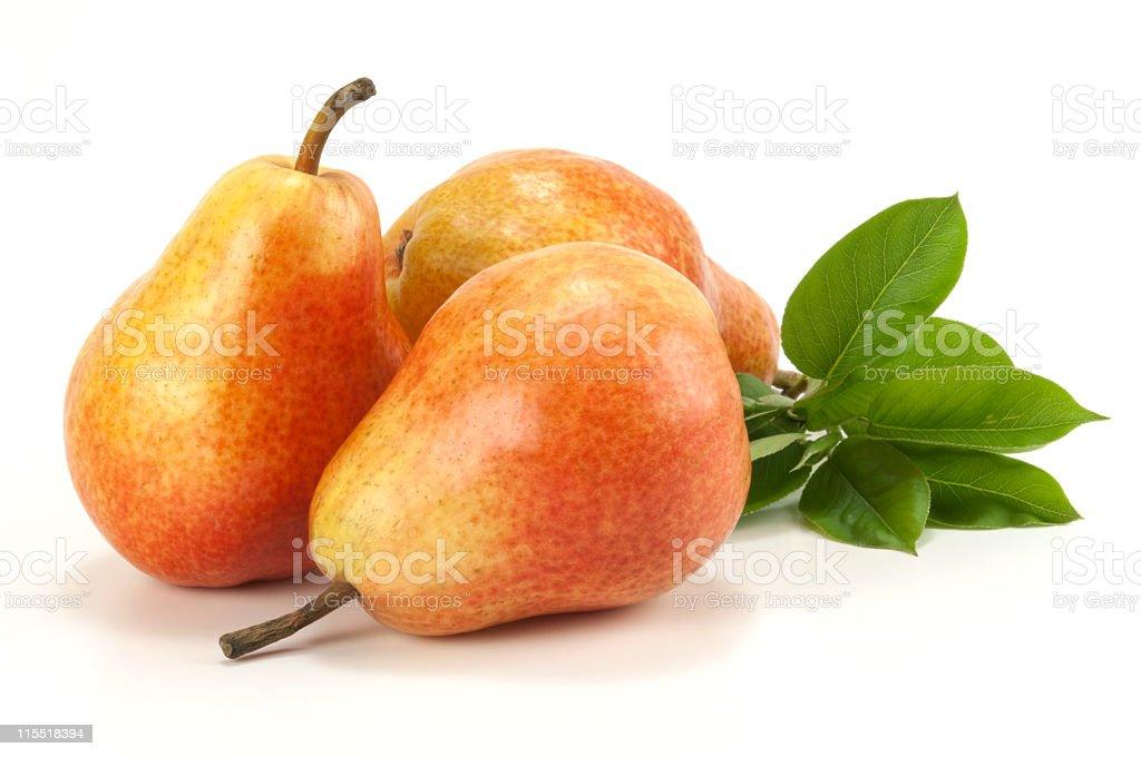 Three pears on white stock photo