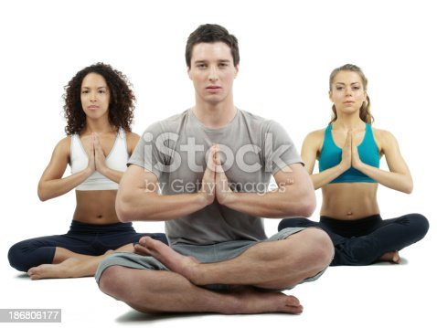 Three people doing yoga on white background.
