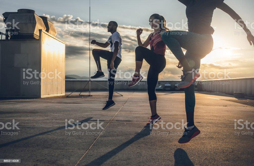 Drei Menschen, die Sport im freien – Foto