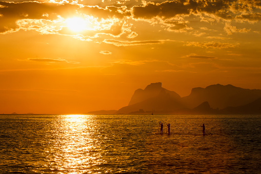 Three People Stand up Paddling at Sunset on Tranquil Sea