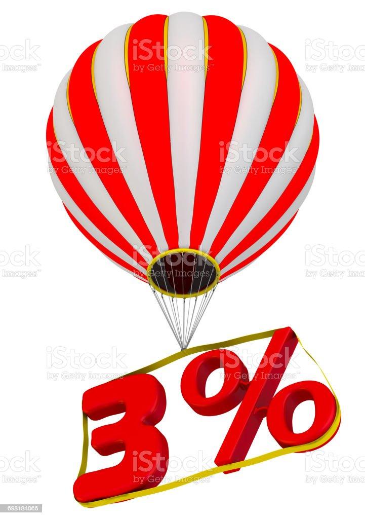 Three percent flies in a hot air balloon stock photo