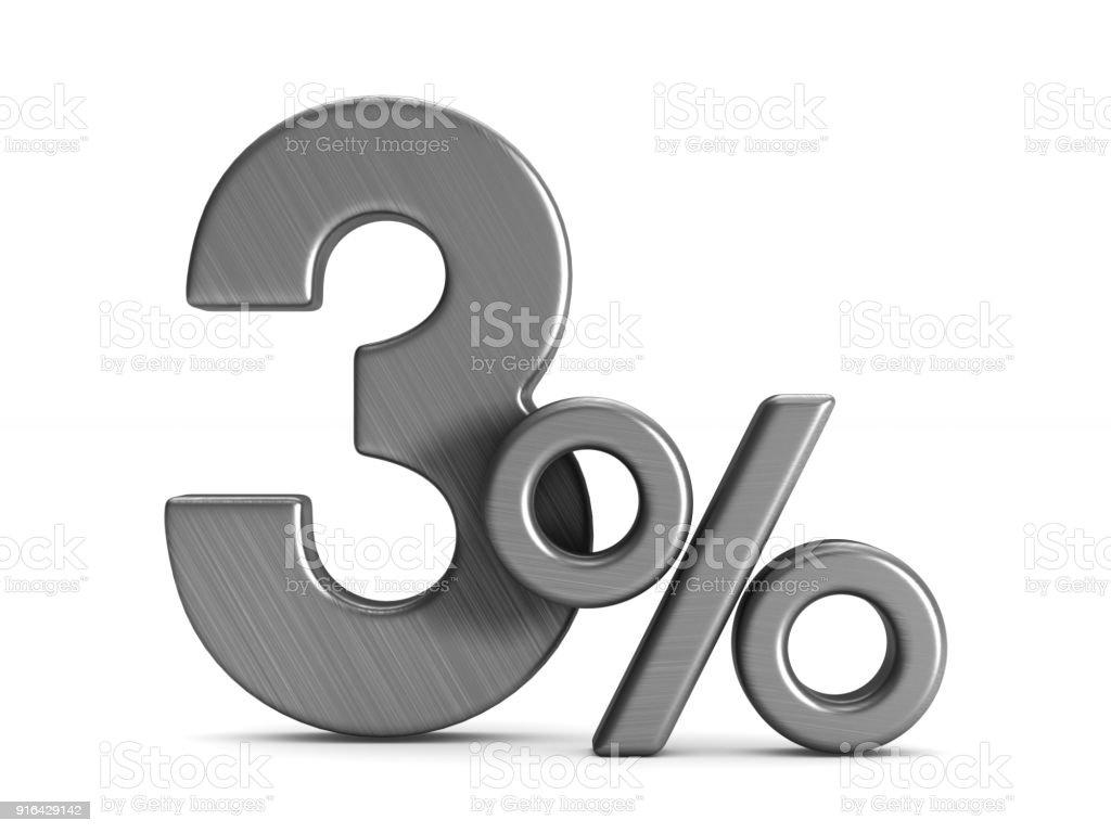Drei Prozent auf weißem Hintergrund. Isolierte 3D-Illustration – Foto