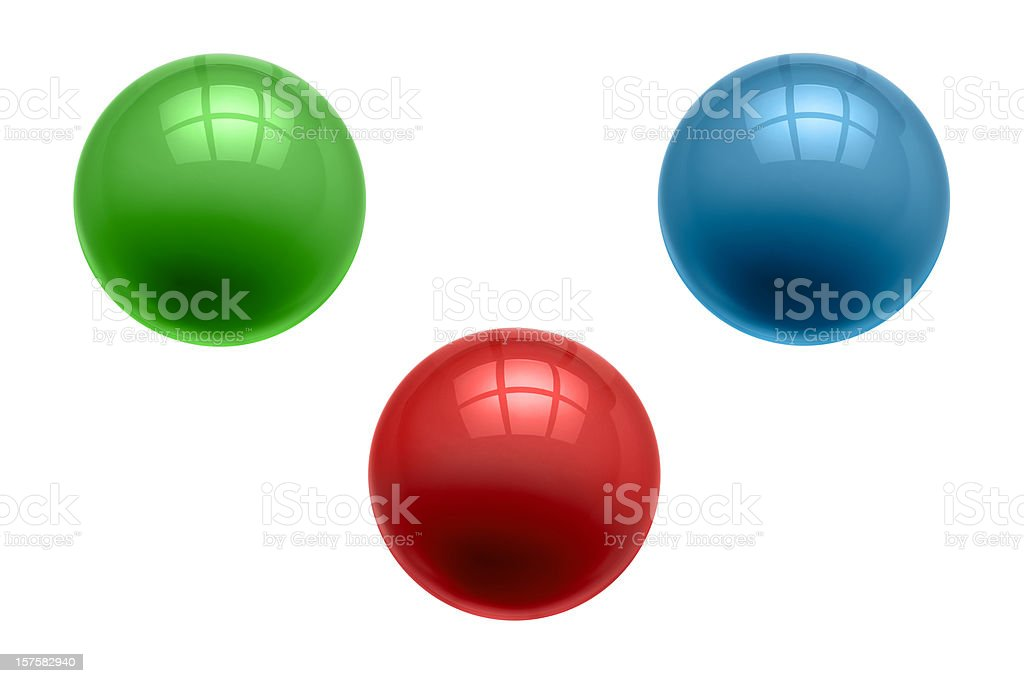 Three Perfect Marbles, Glass Balls, Green, Red, Blue, Clipping Path royalty-free stock photo