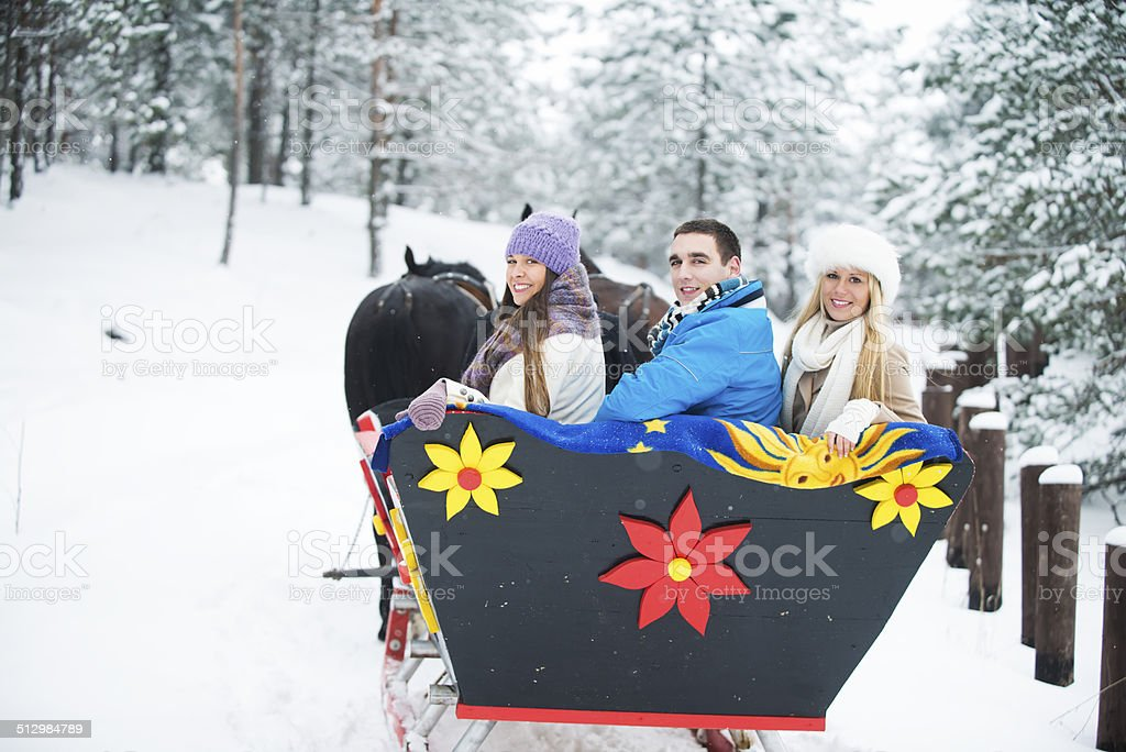 Three persons driving on horse sleigh stock photo