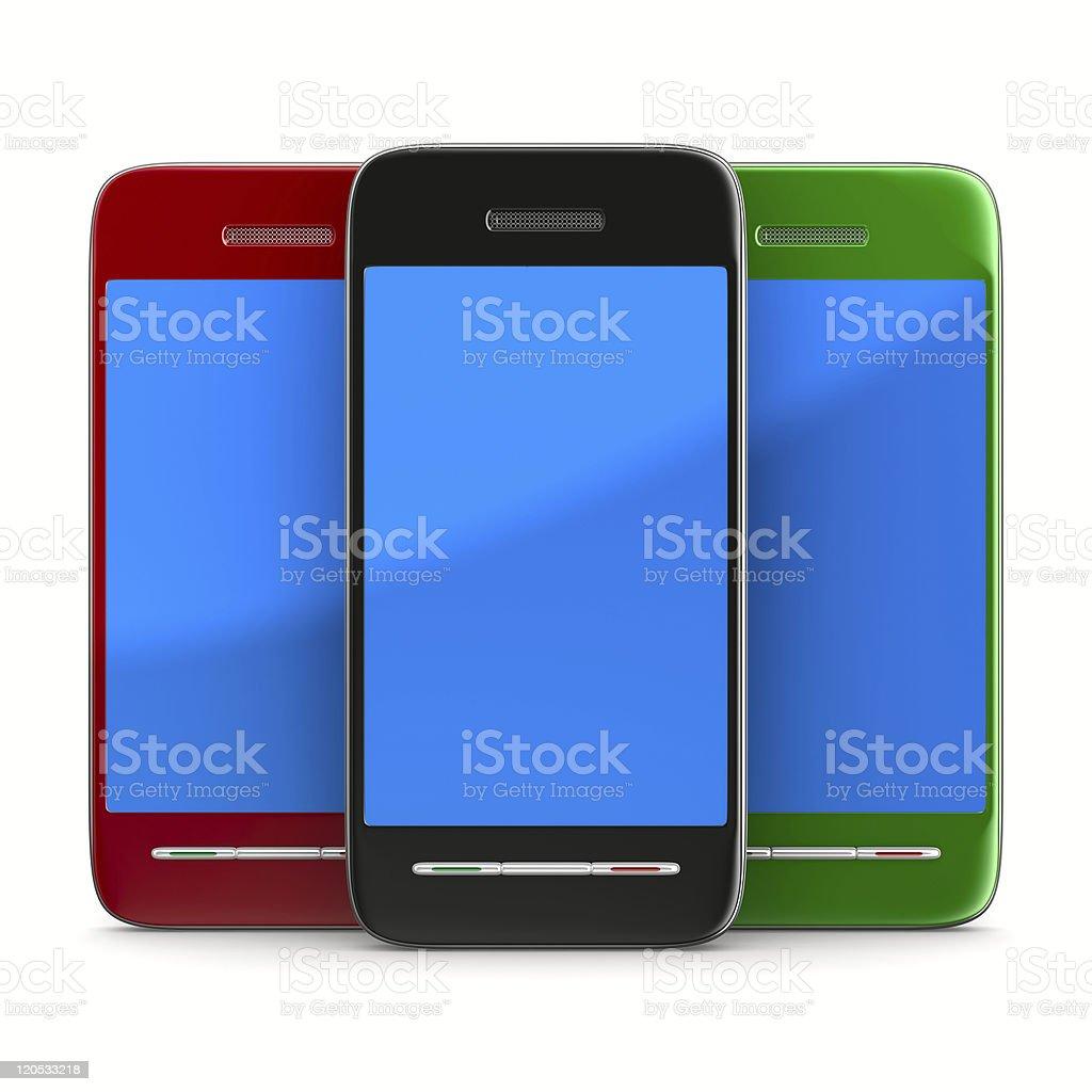 Tre Telefono Su Sfondo Bianco Immagine 3d Isolato Fotografie Stock