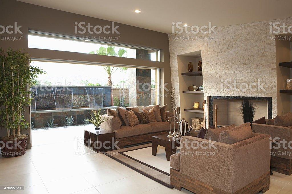 Three Piece Suite Around Coffee Table stock photo