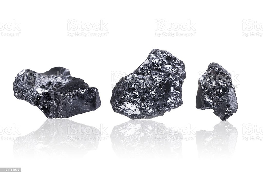 three pieces of a small Anthracite coal, isolated on white stock photo
